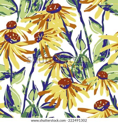 Sunflower seamless pattern - stock photo