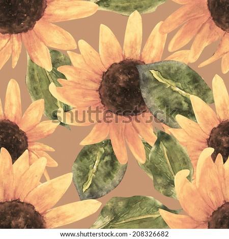 Sunflower seamless pattern , , background , summer , flower , art , image , wallpaper , garden , wet , illustration , dirty , decor , drawing , ,nflower seamless pattern - stock photo
