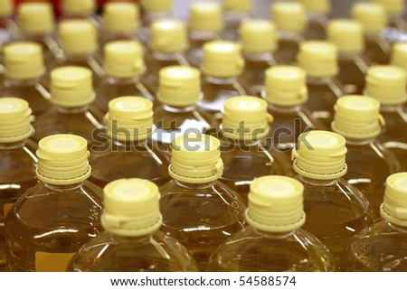 sunflower seed oil pattern factory warehouse store food background - stock photo