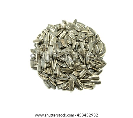 sunflower seed on white background - stock photo