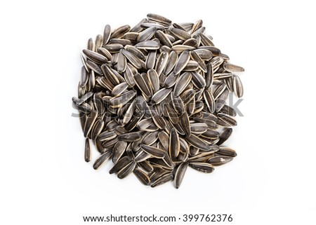 Sunflower seeds, food ingredient with white background. - stock photo