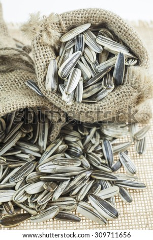 Sunflower seeds in sacks.
