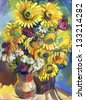 Sunflower. Still life a bouquet of flowers. Hand-drawn in gouache - stock photo