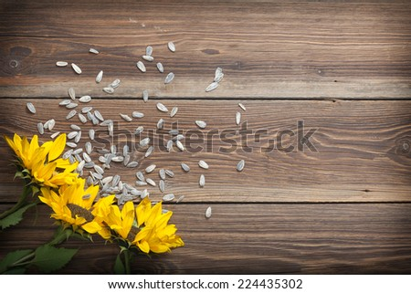 Sunflowers and seed on a wooden table.