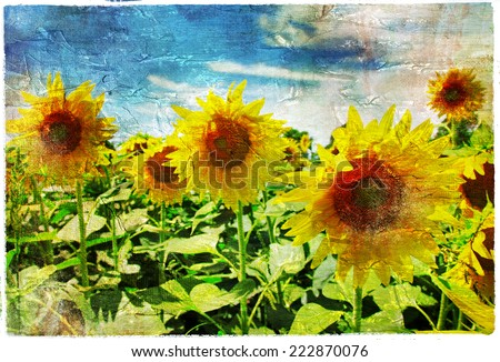 sunflowers - artistic picture in painting style - stock photo