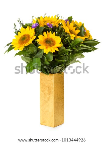 Sunflowers bouquet in vase isolated on white background