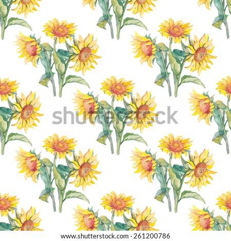 Sunflowers pattern watercolor. - stock photo