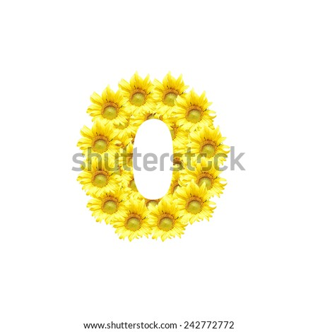 Sunflowers with alphabet letter O - stock photo