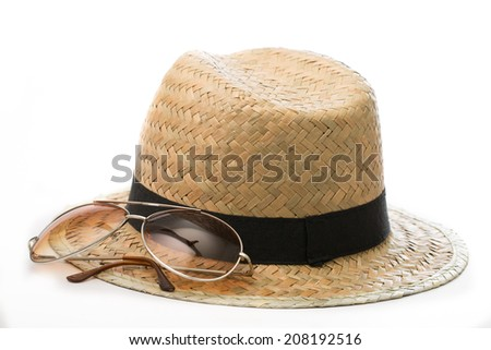 Sunglass ,Hat and Sun block cream with white background