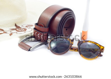 Sunglasses and Brown leather belt,fashion accessories for ma - stock photo