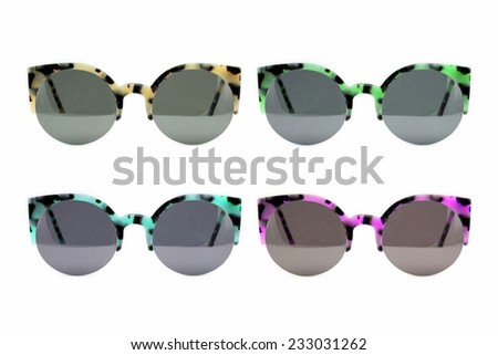 Sunglasses collection isolated on white backogrund, Sunglasses photo set, Colorful Sunglasses. - stock photo