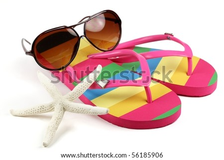 Sunglasses, Flip Flops and Star-fish on white background. - stock photo