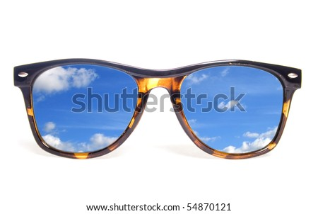 Sunglasses on a white background.  Symbol of travel and  rest. - stock photo