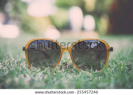 Sunglasses on the lawn