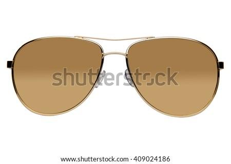 Sunglasses white background, straight on view, profile - stock photo