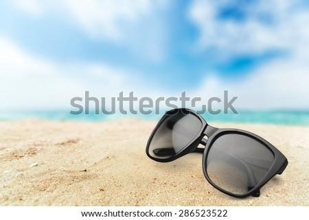 Sunglasses, white, vision. - stock photo