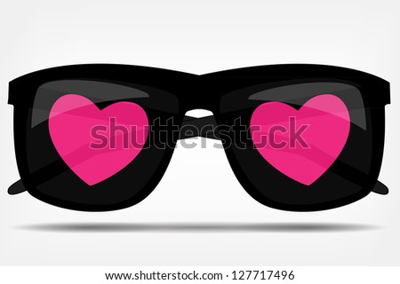 Sunglasses with a heart  Raster version illustration - stock photo
