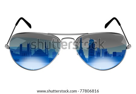 Sunglasses with the reflection of Europe landmarks and monuments - stock photo