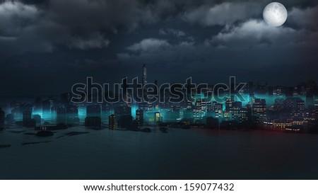 Sunken city with blue fog - stock photo