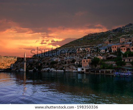 Sunken village Halfeti in Gaziantep Turkey