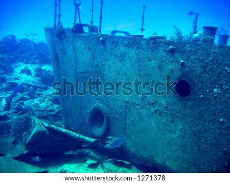 Sunken wreck of the drug smuggling ship Oro Verde - stock photo