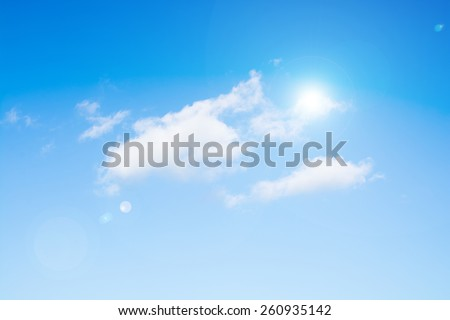 sunlight and flare on sky