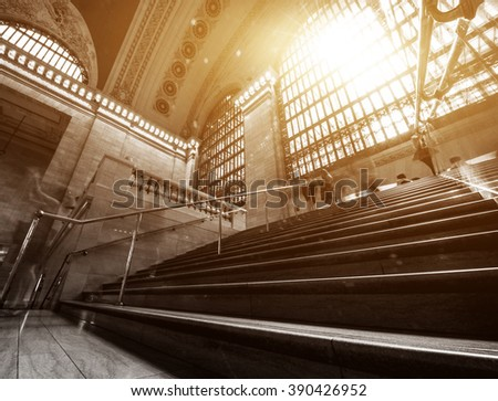 Sunlight pouring through the windows at Grand central Terminal, New York. - stock photo