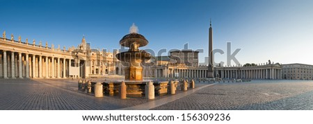 Sunlight streaming into the beautifully ornate St Peter's Square, Vatican City, Rome. - stock photo