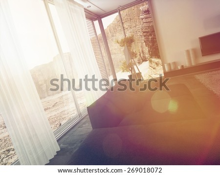 Sunlight Streaming Through Modern Living Room Windows as seen from Inside with View of Cliff Landscape. 3d Rendering. - stock photo