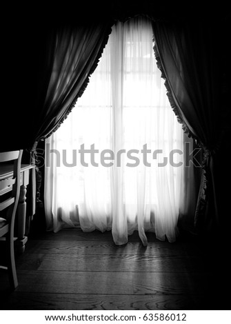 Sunlight window in dark room - stock photo