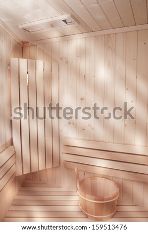 sunlights comming from the window in sauna - stock photo