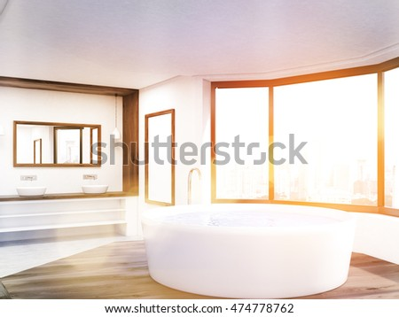 Sunlit bathroom with round tub, long counter, mirrors and big window. Concept of hygiene. 3d rendering. Mock up. Toned image.