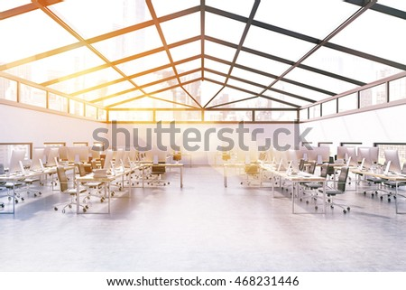 Sunlit office in attic of skyscraper with many computers on desks and gray walls. Concept of corporate work. 3d rendering. Mock up. Toned image
