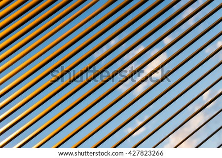 Sunlit stripes of jalousie - stock photo
