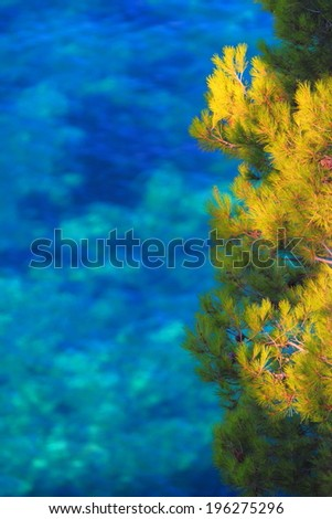 Sunlit vegetation and blue Adriatic sea in the background - stock photo