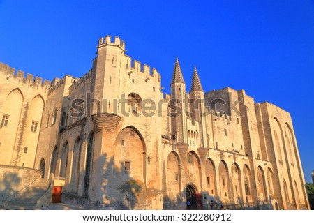 Sunlit walls of the Gothic building of the Papal Palace (Palais des Papes), Avignon, Provence, France - stock photo