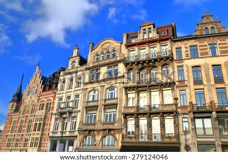 Sunny acades of traditional buildings in Brussels, Belgium