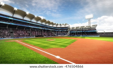 sunny baseball stadium with fans at daylight, sport theme 3D illustration