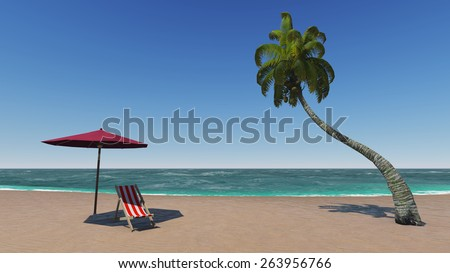 sunny beach summer with tropical palm tree, turquoise sea and sand - stock photo