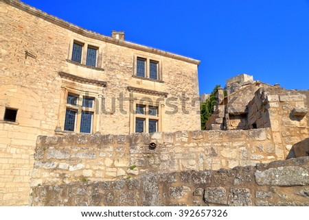 Sunny buildings from the historical town of Les Baux de Provence, Provence, France - stock photo