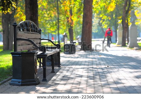 Sunny day in city park in autumn - stock photo