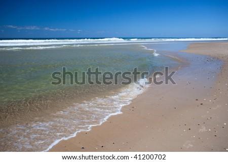 Sunny day on Surfers Paradise beach, Gold Coast, Queensland, Australia - stock photo