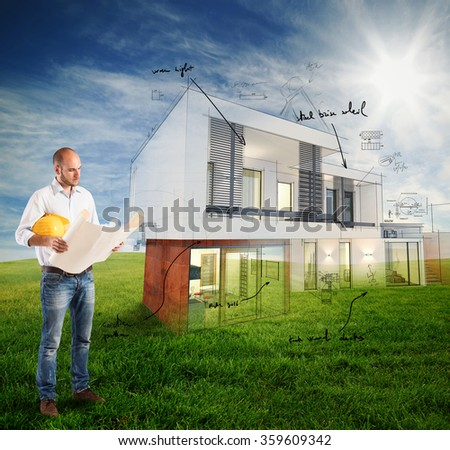 Sunny day project house - stock photo