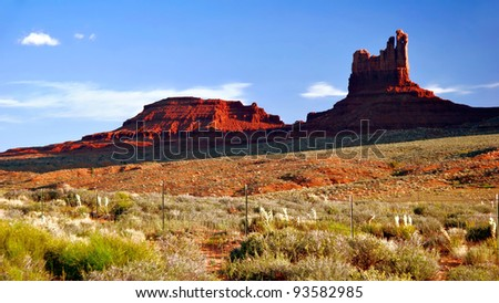 Sunny evening in Monument Valley. Arizona. USA