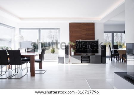 Sunny expensive house in contemporary desing  - stock photo