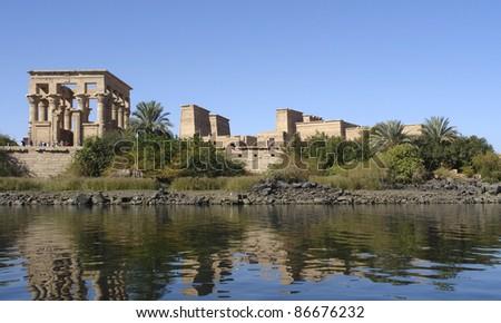 sunny illuminated Temple of Philae in Egypt (Africa) - stock photo