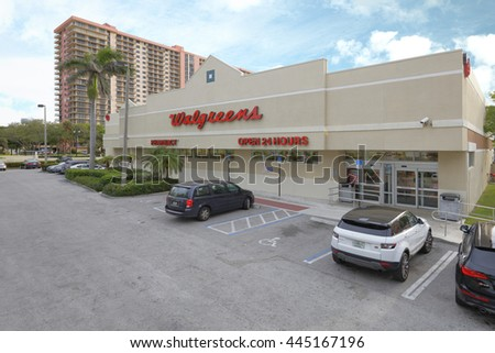 SUNNY ISLES BEACH - JUNE 15: Image of Walgreen which is an American pharmaceutical company founded in 1901 in Chicago with over 8000 USA locations June 15, 2016 in Sunny Isles Beach FL - stock photo
