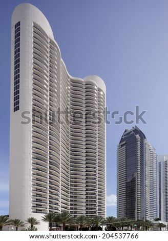 SUNNY ISLES BEACH - MARCH 17: Stock photo of the Trump Tower Condominium Sunny Isles consists of 271 units of luxury waterfront living March 17, 2014 - Miami, Florida - stock photo