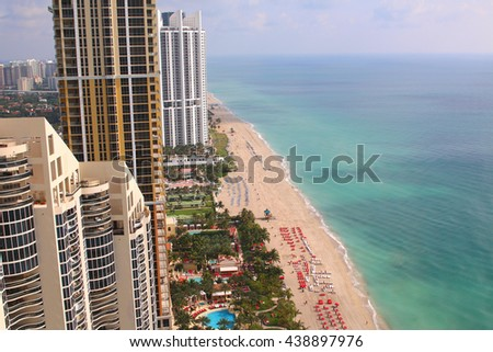Sunny Isles Beach Miami. Ocean front residences. aerial landscape panoramic vew - stock photo