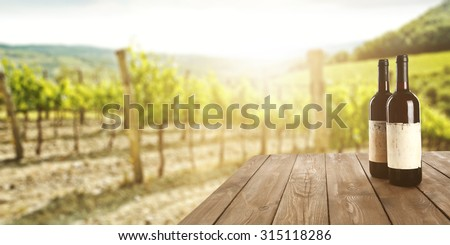 sunny landscape of vineyard with green leaves and bottles of wine on table  - stock photo
